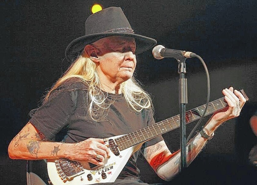 Legendary blues guitarist Johnny Winter performs on stage during a concert at the Valencia Jazz Festival in 2008. He died this year at 70.