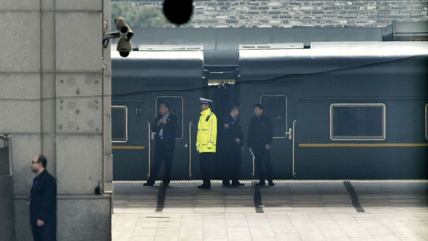 A special train is seen at Beijing Railway Station in Beijing Tuesday, March 27, 2018. Speculation a