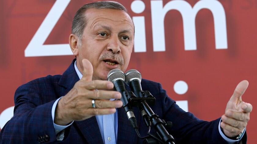 Turkey's President Recep Tayyip Erdogan addresses academicians and students at the Sabahattin Zaim University in Istanbul on June 5, 2016.
