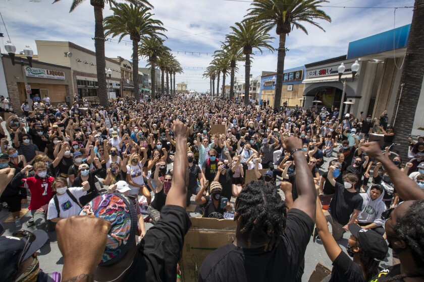 A peaceful Black Lives Matter protest in Manhattan Beach in June.