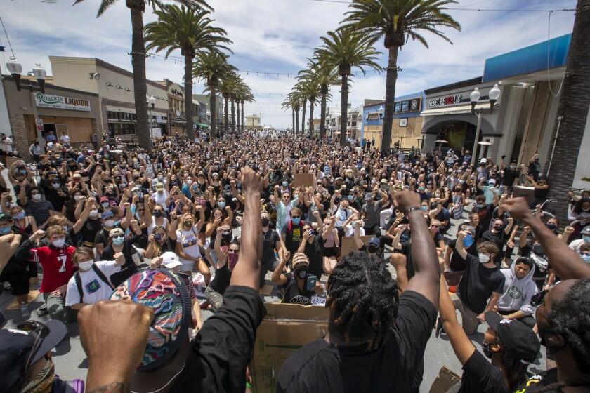 A peaceful Black Lives Matter protest in Manhattan Beach in June.