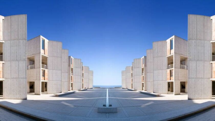 A fish-eye view of the Salk Institute, with its dramatic Pacific Ocean views.