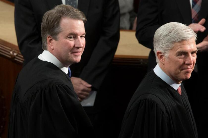 Associate Justices of the Supreme Court Brett Kavanaugh (L) and Neil Gorsuch (R) attend the second State of the Union address of US President Donald J. Trump (unseen), on the floor of the House of Representatives on Capitol Hill in Washington, DC, USA, Feb. 05, 2019. EPA-EFE/FILE/MICHAEL REYNOLDS