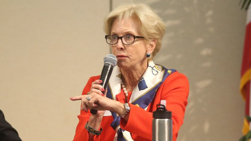 Candidate Diane Dixon makes a comment during the first of the Newport Beach City Council candidate f