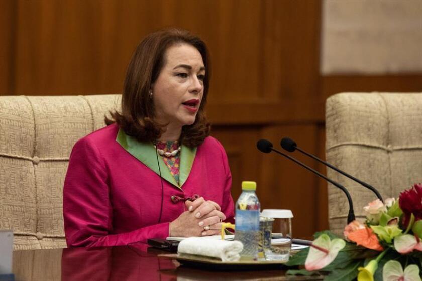 La Presidenta electa de la Asamblea General de las Naciones Unidas (ONU), la ecuatoriana María Fernanda Espinosa Garcés (i). EFE/POOL/Archivo
