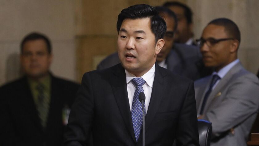 Los Angeles City Councilman David Ryu in council chambers at City Hall in December.