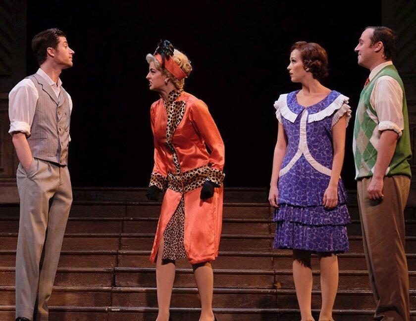"Brandon Davidson, Andi Davis, Brittany Rose Hammond and Cameron Lewis in San Diego Musical Theatre's ""Singin' in the Rain."""