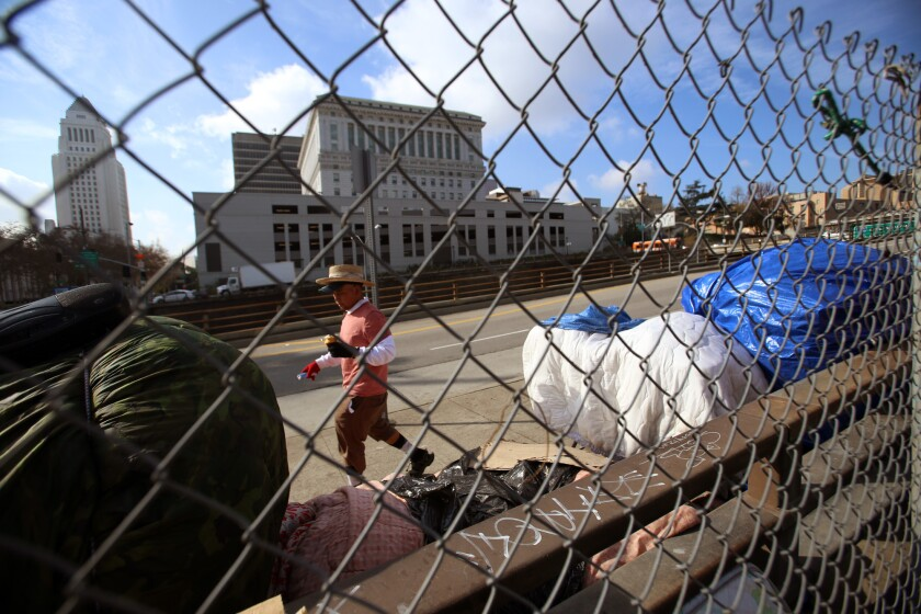 L.A. officials ponder bond or tax measure to help the homeless as a budget shortfall looms