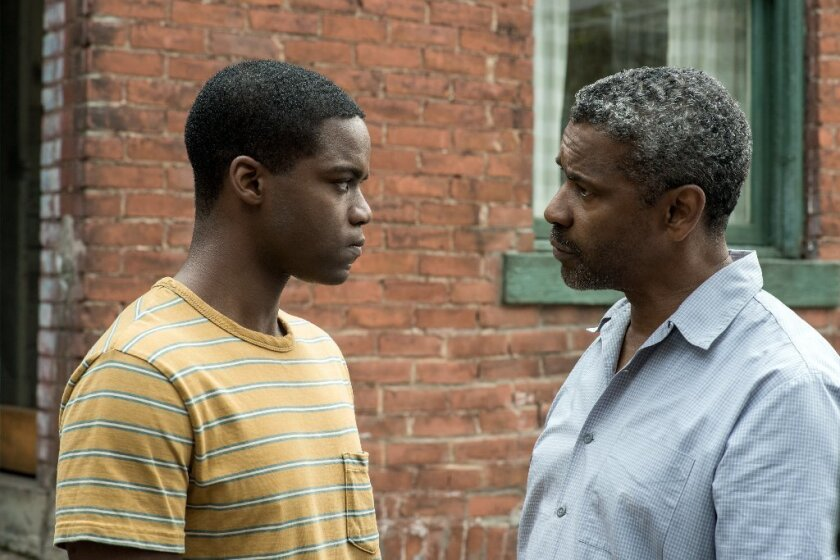 "Jovan Adepo and Denzel Washington star in ""Fences."""
