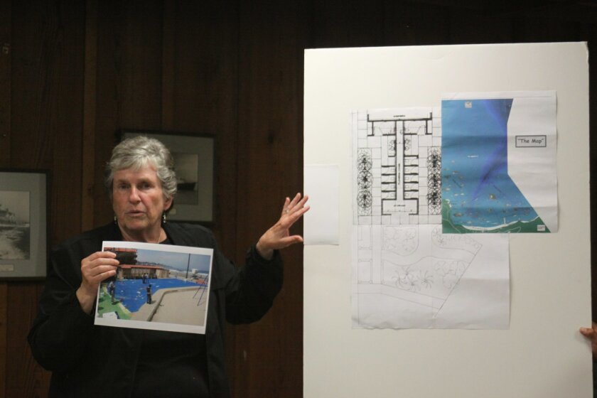 Mary coakley-Munk shows the concept for the fenced off Map installation, with the hopes of making it a 'destination.'