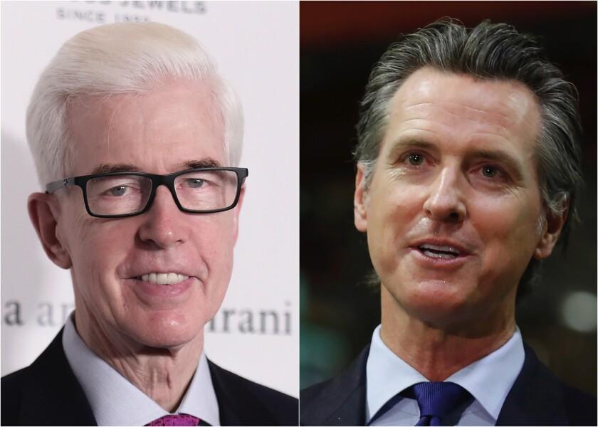 Former California Gov. Gray Davis and current Gov. Gavin Newsom in side-by-side photos