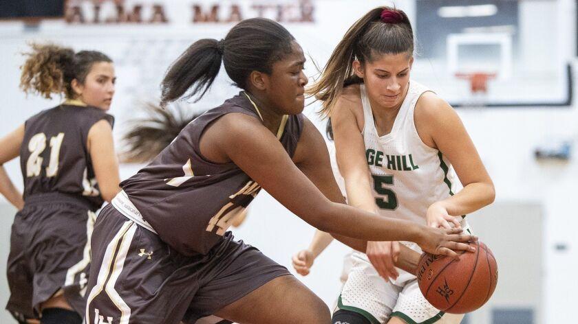 Sage Hill's Zoe Mazakas battles for a loose ball with Laguna Hills' Imaan Ibrahaim in an Ultimate Fl