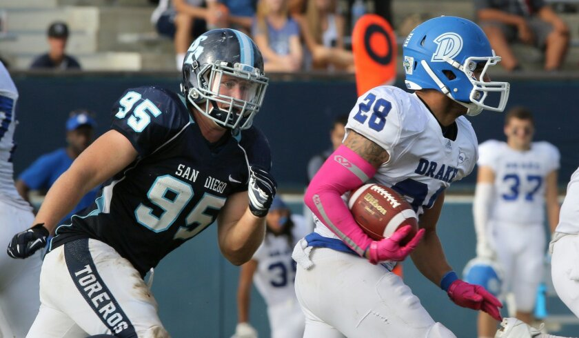 USD defensive end Jonathan Petersen, a redshirt junior, has led the Toreros in tackles for losses and sacks each of his first two seasons. He is in his third season as a starter.