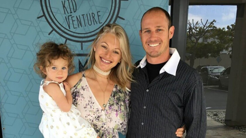 Cal Fire engineer Cory Iverson with his wife, Ashley, and daughter, 2 1/2-year-old Evie Iverson. (Iv