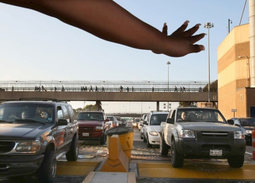 As cars pass slowly through the U.S. border crossing, images of their license plates will be checked against a criminal database in Mexico City. Scales and vehicle scanners will alert border guards to vehicles that may need to be inspected for illicit cargo.