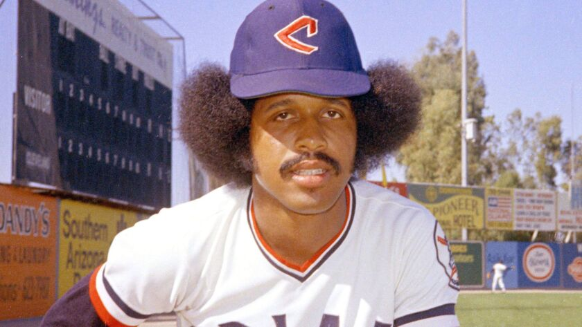 In this 1974 file photo, Cleveland Indians baseball player Oscar Gamble poses. Gamble, an outfielder