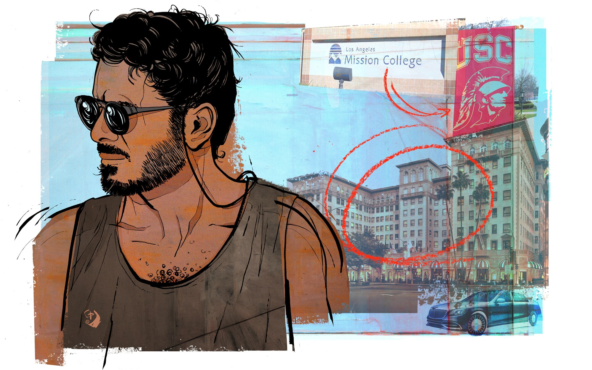 Illustration of Sheikh Khalifa bin Hamad bin Khalifa Al Thani and his time in L.A., including the Beverly Wilshire Hotel.