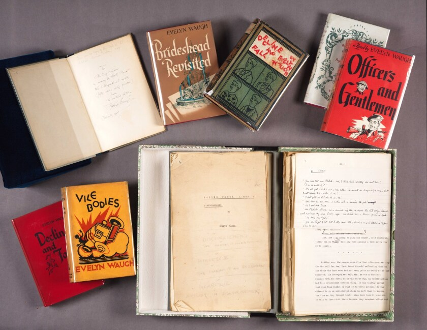 Books and manuscripts from the Evelyn Waugh collection donated to the Huntington Library.