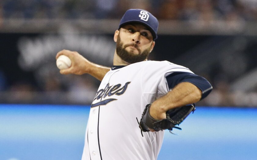 Padres starting pitcher Brandon Morrow throws against the San Francisco Giants in the first inning of a baseball game Friday April 10, 2015 in San Diego.