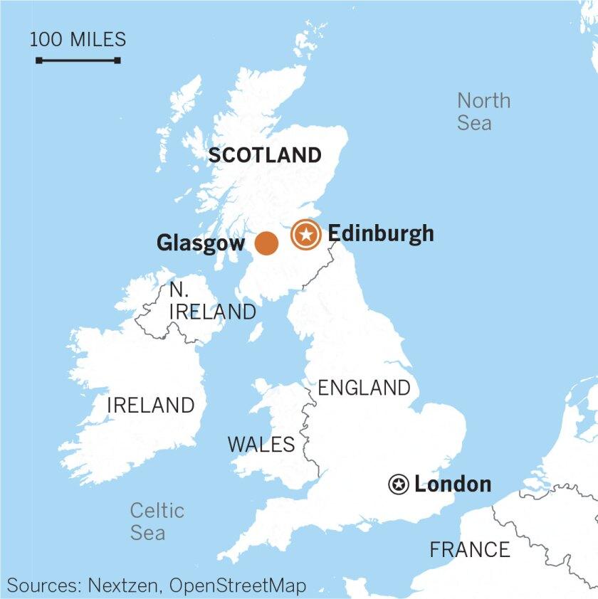 Map of Edinburgh, Glasgow, Scotland.