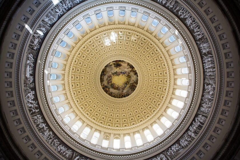 The newly renovated dome shines in the Capitol Rotunda.