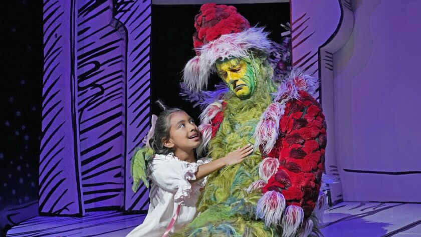 Cindy-Lou Who and Edward Watts as The Grinch in Dr. Seuss's How the Grinch Stole Christmas!, book an