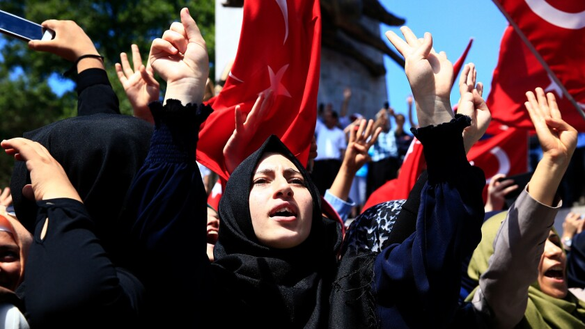 Pro-Turkey government supporters in Istanbul chant slogans and wave Turkish flags as they demonstrate against last week's attempted coup.
