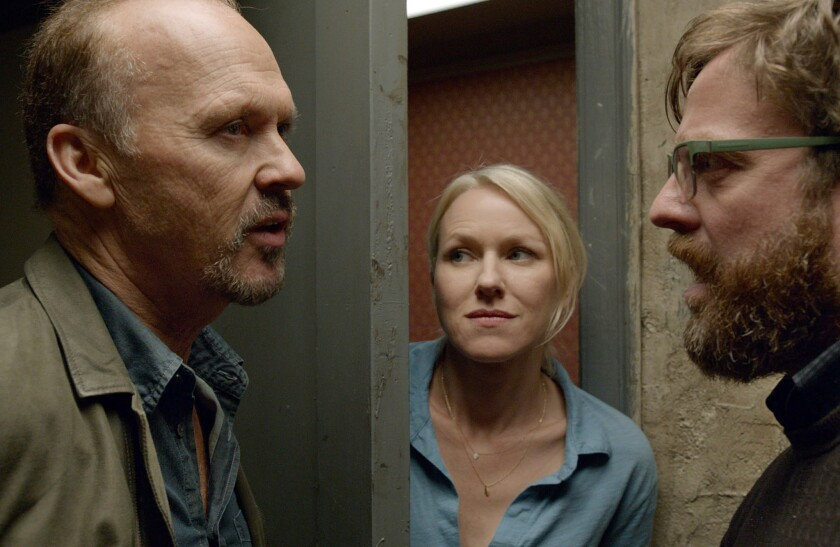 Michael Keaton, left, portrays an actor known for formerly playing a superhero. Naomi Watts and Zach Galifianakis costar.