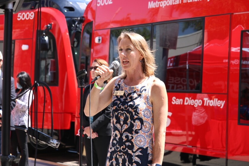 Encinitas Mayor Catherine Blakespear and SANDAG chair before the first ride on the mid-coast trolley.