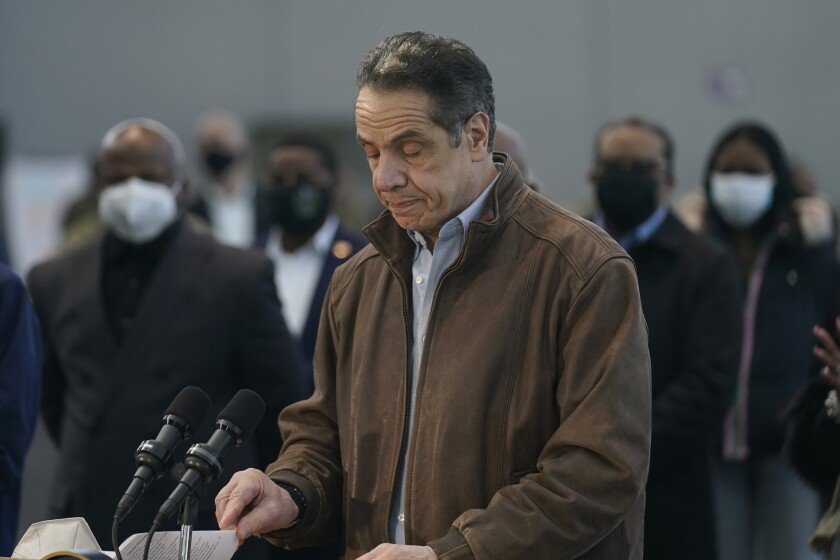New York Gov. Andrew Cuomo speaks at a vaccination site on Monday, March 8, 2021, in New York. A lawyer for Gov. Andrew Cuomo said Thursday that she reported a groping allegation made against him to local police after the woman involved declined to press charges herself. (AP Photo/Seth Wenig, Pool)