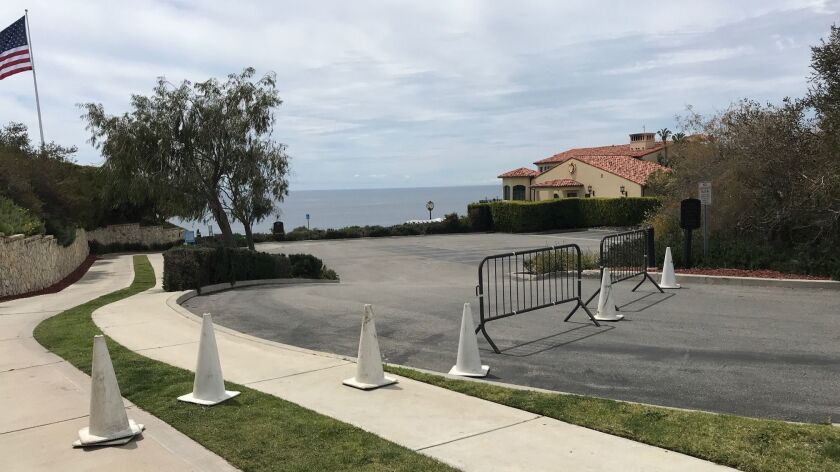 The entrance to Trump National Golf Club in Rancho Palos Verdes Friday afternoon.