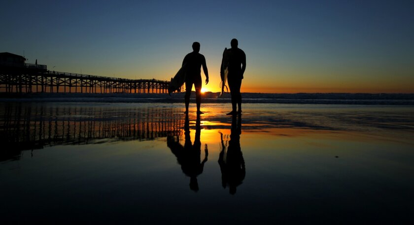 Jeremy Caveness, left, and Ryan Guest watch the sunset after a surf in Pacific Beach.