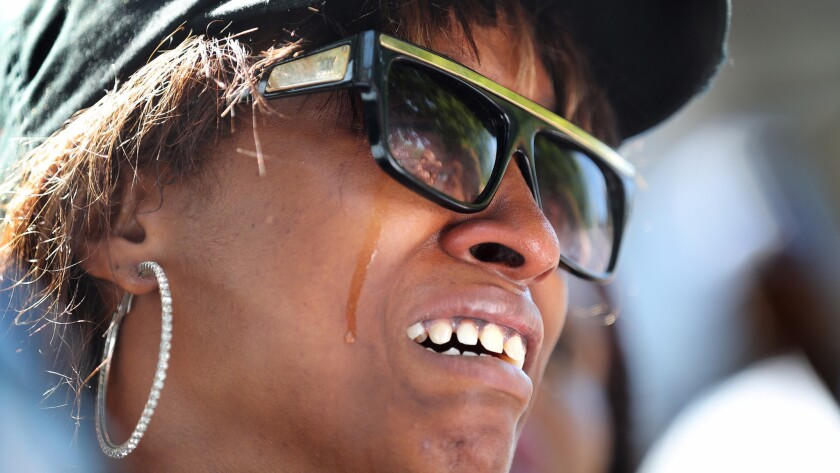 Diamond Reynolds, the girlfriend of Philando Castile, breaks down in tears during a news conference at the Minnesota governor's residence in St. Paul on Thursday, July 7, 2016.
