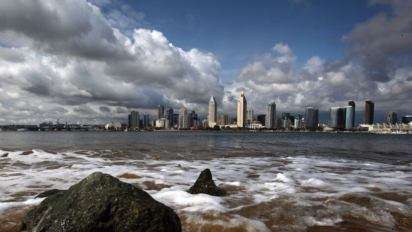Downtown San Diego's skyline photographed from the Coronado.
