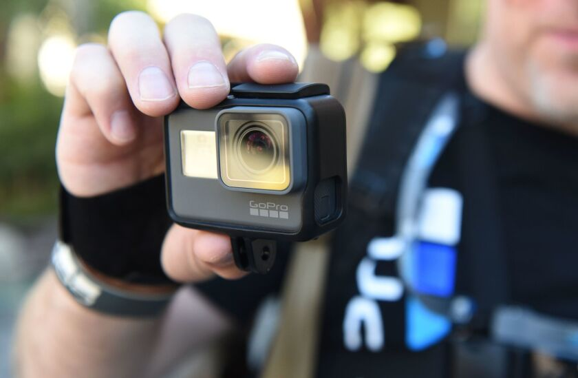 A man tries out a new GoPro Hero5 Black during a media event in Olympic Valley, Calif., on Sept. 19.