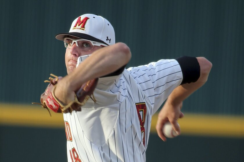 FILE - In this May 31, 2014, file photo, Maryland pitcher Mike Shawaryn delivers during an NCAA college baseball tournament regional game against South Carolina in Columbia, S.C. Shawaryn's 10 wins are tied for most in the nation, and he'll go into his Friday night start against Indiana on a streak