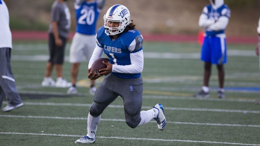San Diego's Raiden Hunter is part of a deep backfield for the Cavers.