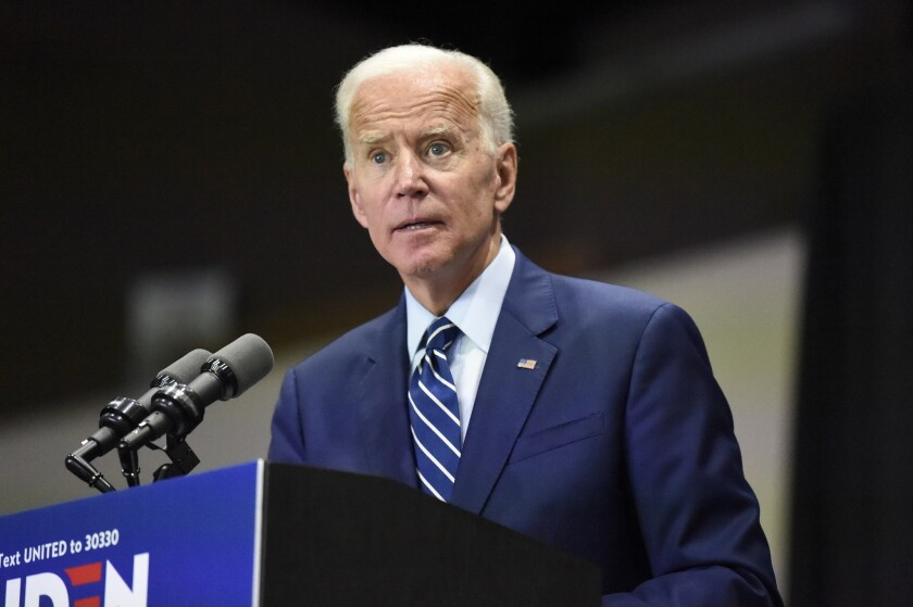 Democratic presidential candidate and former vice president Joe Biden speaks at a campaign event in