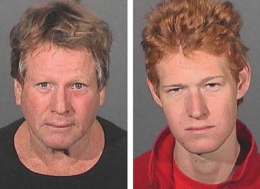 Actor Ryan O'Neal, left, and his son Redmond were detained this morning during a probation search at Ryan O'Neal's Malibu home, authorities said. Redmond O'Neal was in possession of methamphetamine and a vial of the drug was found in Ryan O'Neal's bedroom, said a Los Angeles County sheriff's spokesman.