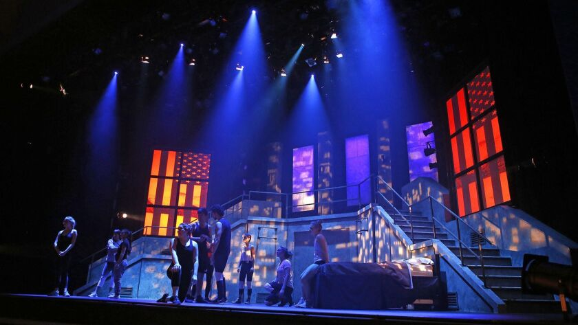 """The stage scene during the rehearsal of """"American Idiot"""" at UCI's Claire Trevor Theater."""