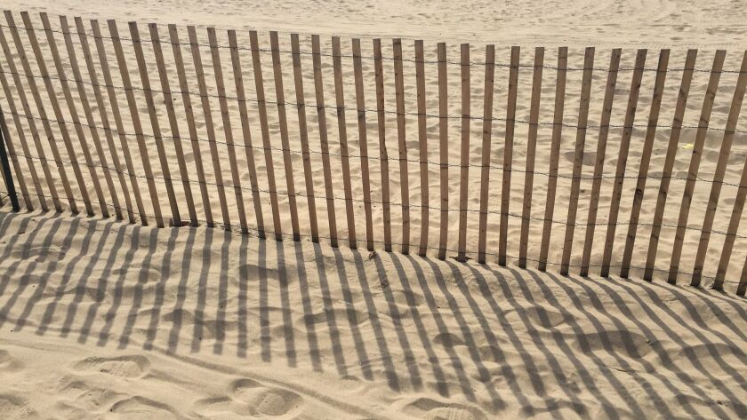Sandy beach with a wood fence and foot prints