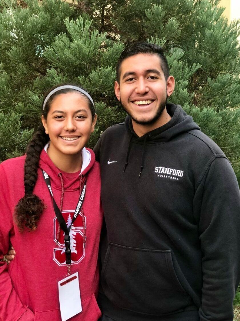 Malia Tufuga is following in the footsteps of her brother Mason, right, in committing to play volleyball for Stanford.