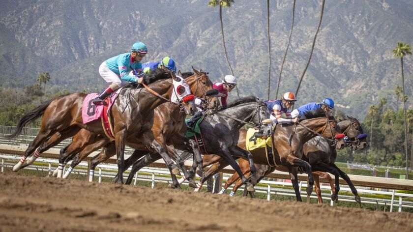ARCADIA, CALIF. -- FRIDAY, MARCH 29, 2019: Santa Anita Race 6 is off out of the gate as Santa Anita