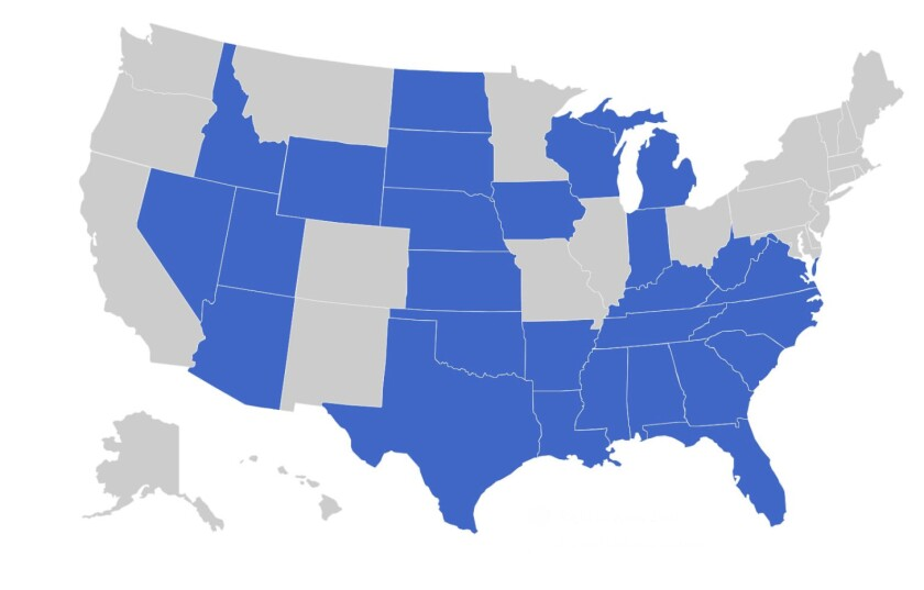 Right-to-work laws have been enacted in 27 states (blue), including the entire South.