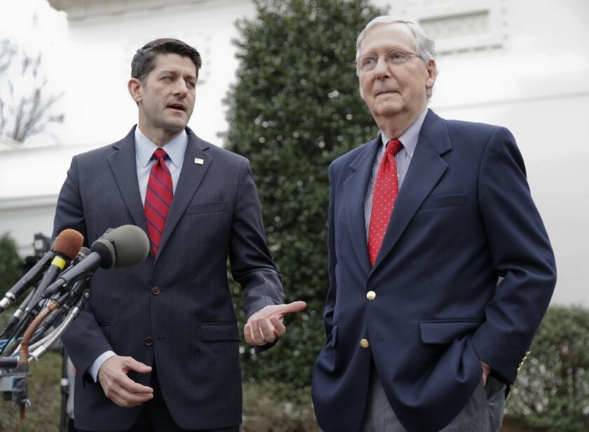 House Speaker Paul Ryan (R-Wis.), left, and Senate Majority Leader Mitch McConnell (R-Ky.) are promising swift legislative action over the next month to repeal and replace the Affordable Care Act.