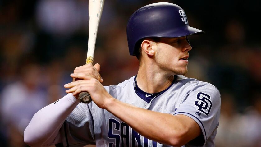 San Diego Padres' Wil Myers waits to bat against the Arizona Diamondbacks during the ninth inning of a baseball game Thursday, April 27, 2017, in Phoenix.