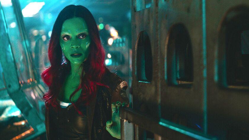 "Zoe Saldana as Gamora in Marvel Studios' ""Avengers: Infinity War."""
