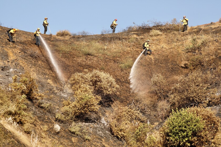 Firefighters get a handle on a small vegetation fire that broke out Tuesday near the Hollywood Bowl.