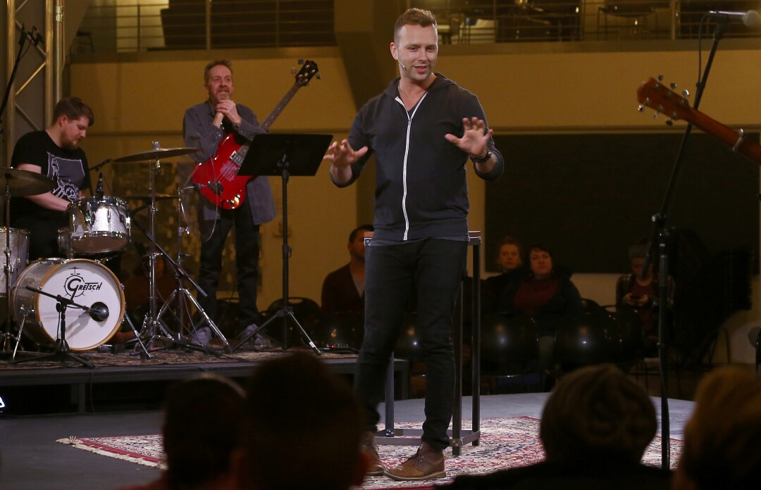 Jason Miller, pastor of South Bend City Church in the former Studebaker assembly line building in South Bend, Ind.