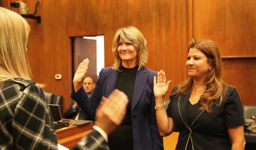 Interim city treasurer, clerk are sworn in at Burbank City Hall